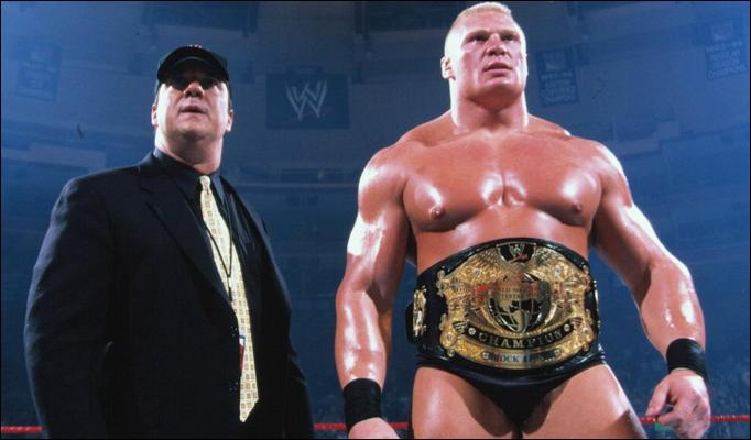 Brock Lesnar with his manager Paul Heyman