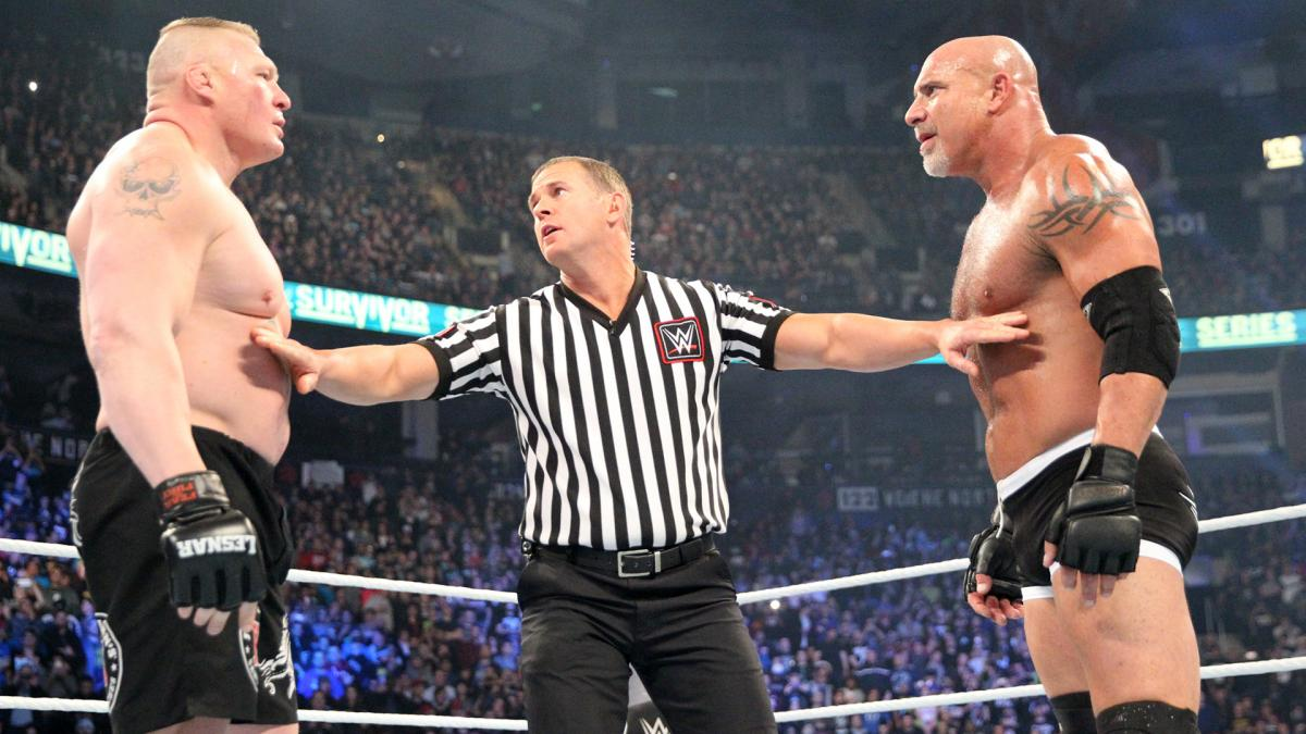 Image result for goldberg vs.Brock lesnar face off
