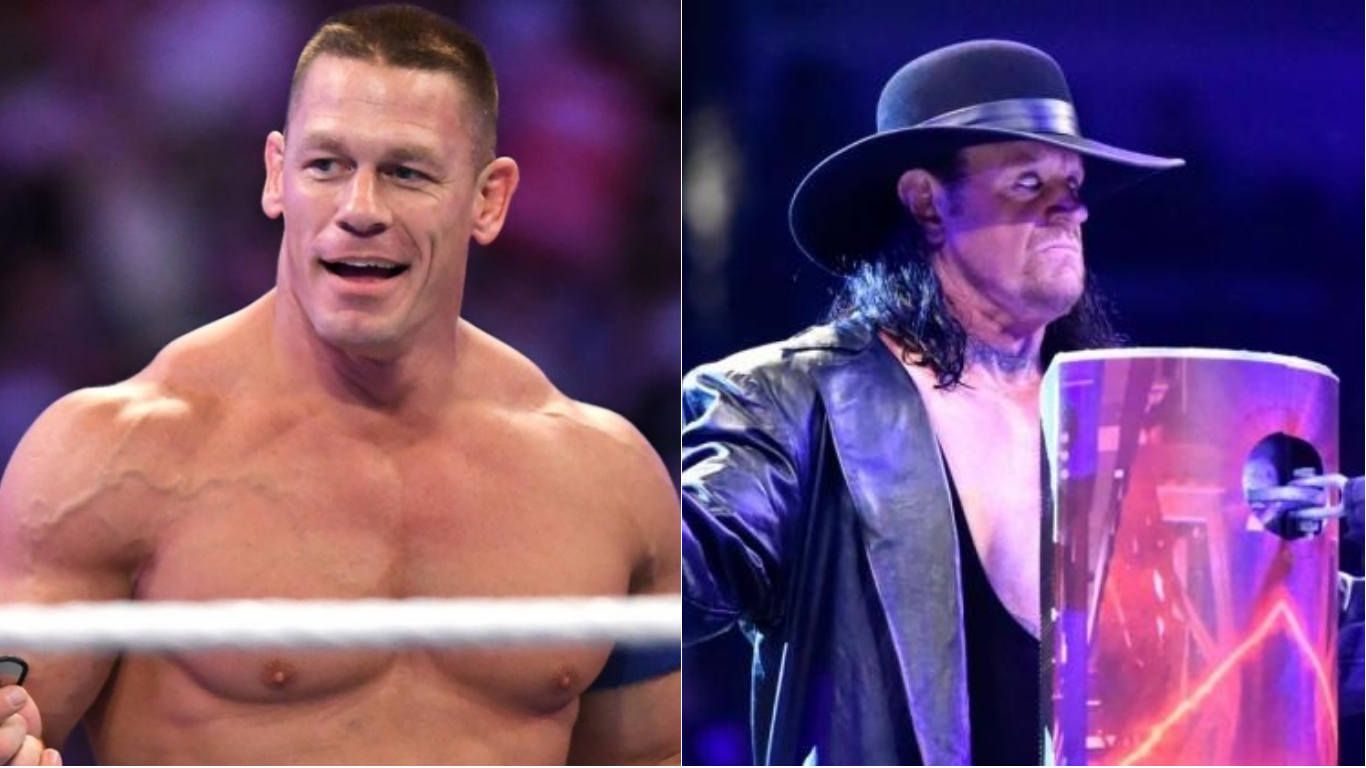 wwe teases john cena vs the undertaker with new. Black Bedroom Furniture Sets. Home Design Ideas